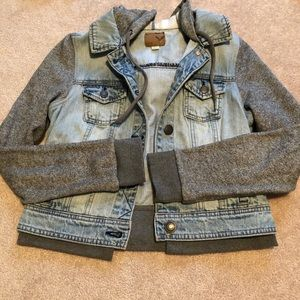 AE Denim Sweatshirt Hooded Jacket